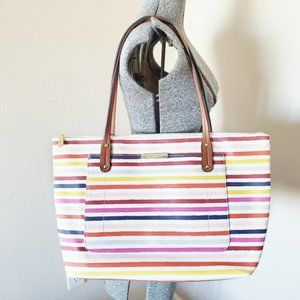 Liz Claiborne Colorful Rainbow Striped Large Tote
